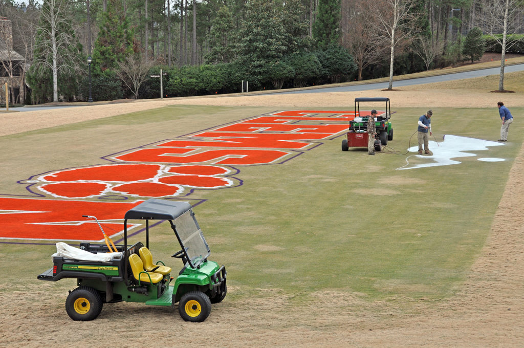 Clemson logo and The Reserve logo painted on the green at The Reserve at Lake Keowee