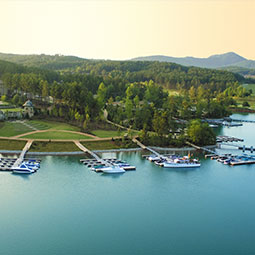 boats docked on Lake Keowee